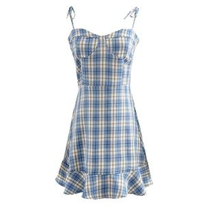 BNWT Blue Plaid Spaghetti Strap Dress Brandy Style